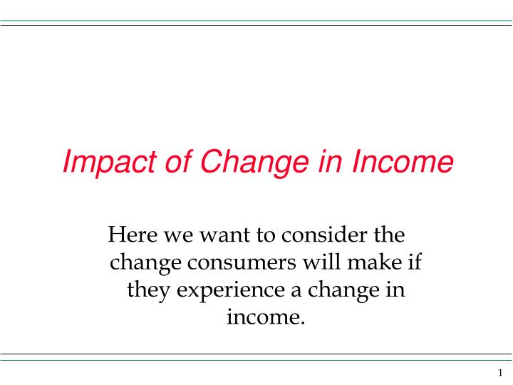 Impact of Change in Income