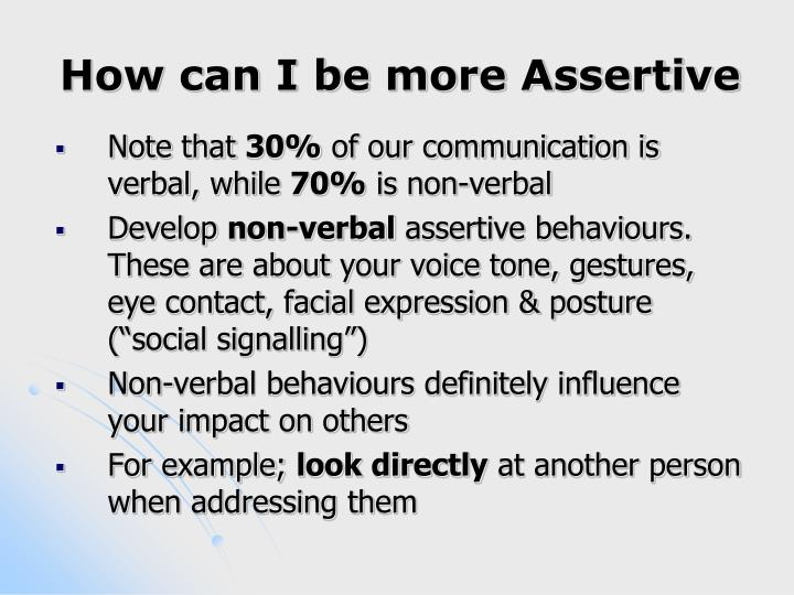 How can I be more Assertive