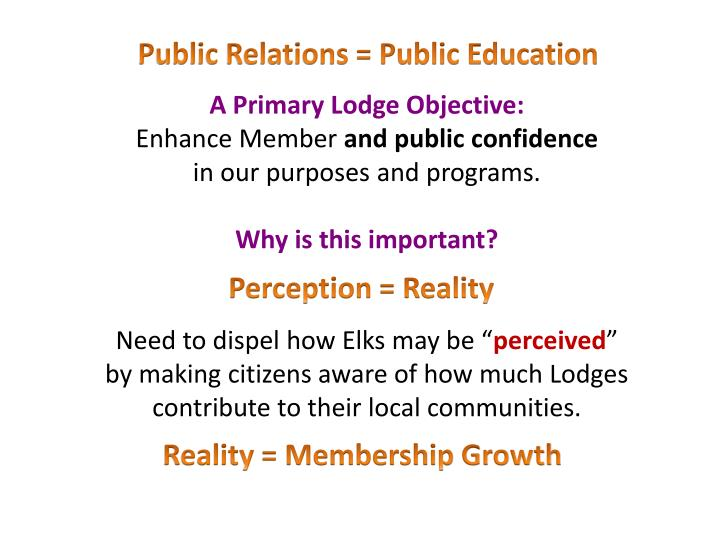 Public Relations = Public Education