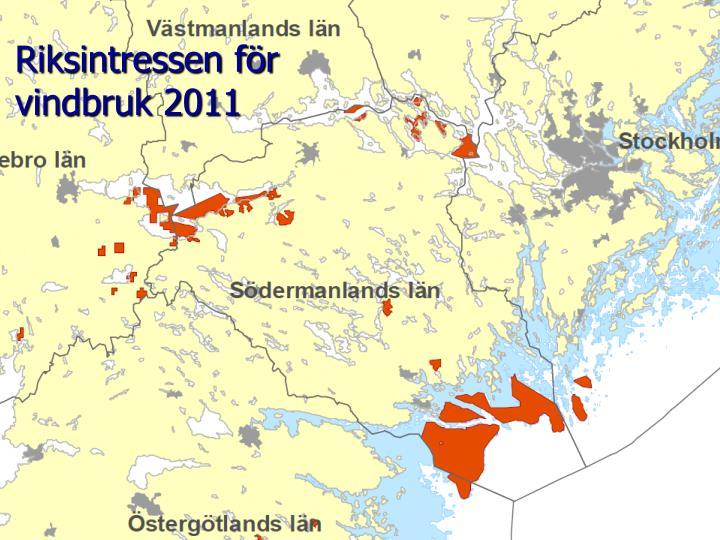 Riksintressen för vindbruk 2011