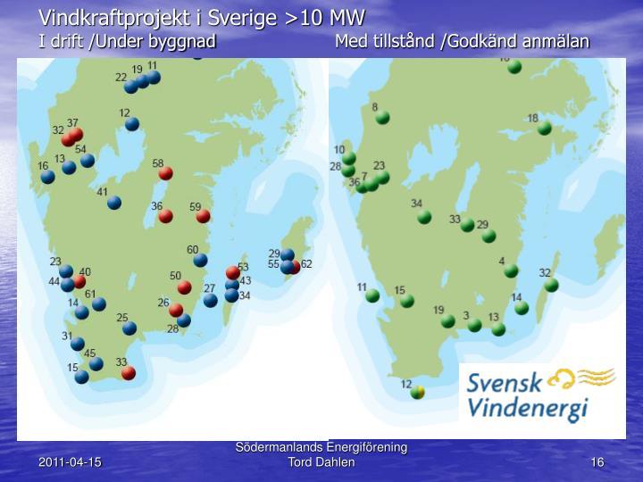 Vindkraftprojekt i Sverige >10 MW