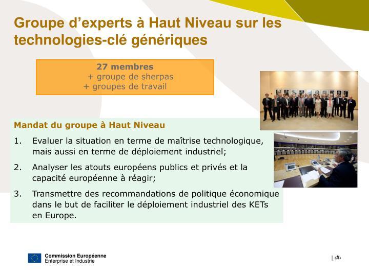 Groupe d'experts à Haut Niveau sur les technologies-clé génériques
