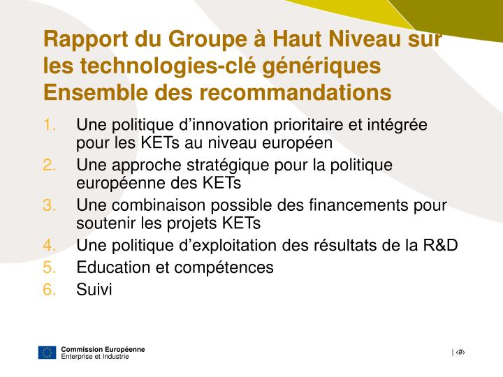 Rapport du Groupe à Haut Niveau sur les technologies-clé génériques