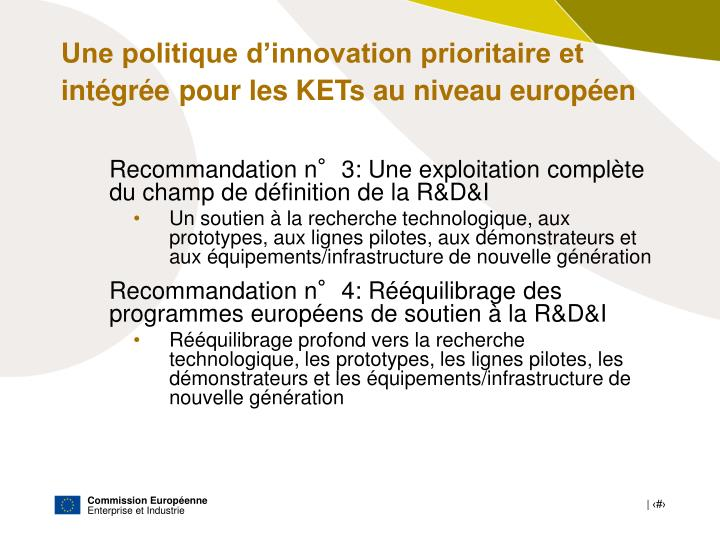 Une politique d'innovation prioritaire et intégrée