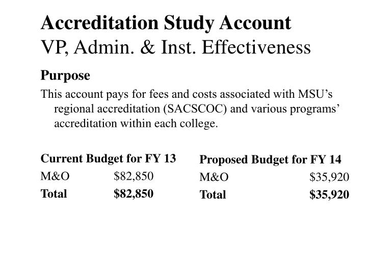Accreditation Study Account