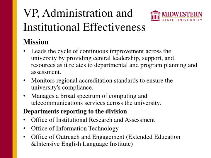 Vp administration and institutional effectiveness