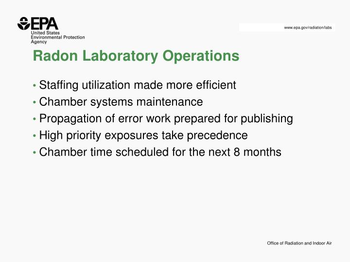 Radon Laboratory Operations