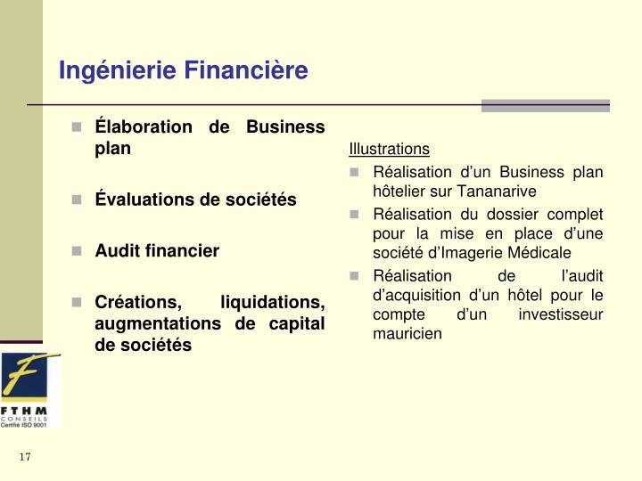 Élaboration de Business  plan