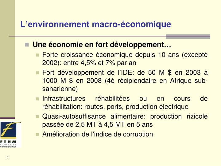 L'environnement macro-économique