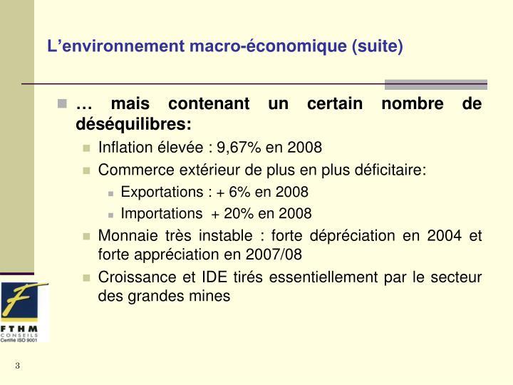 L'environnement macro-économique (suite)
