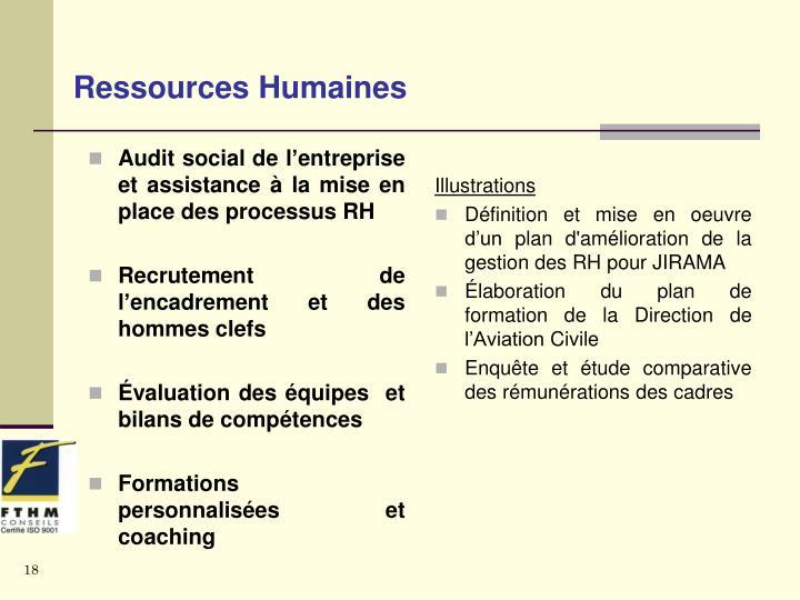 Audit social de l'entreprise et assistance à la mise en place des processus RH