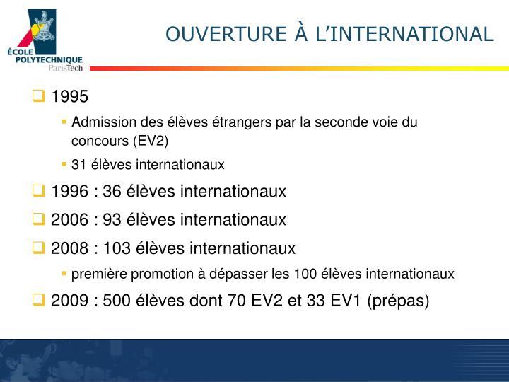 OUVERTURE À L'INTERNATIONAL