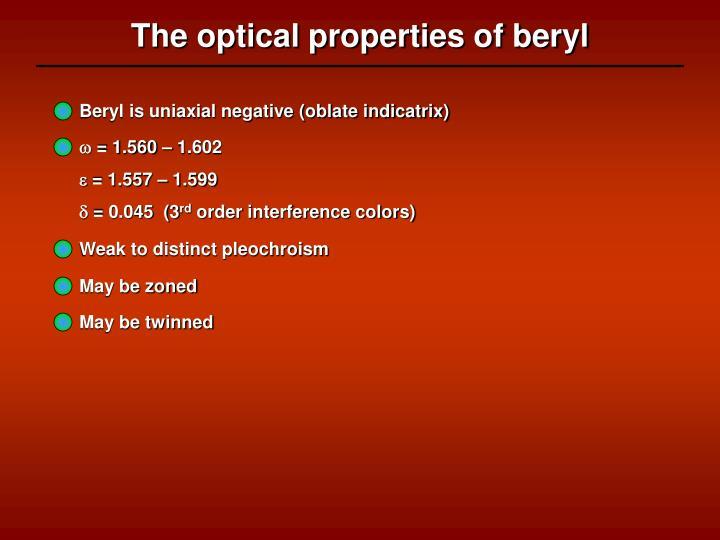 The optical properties of beryl