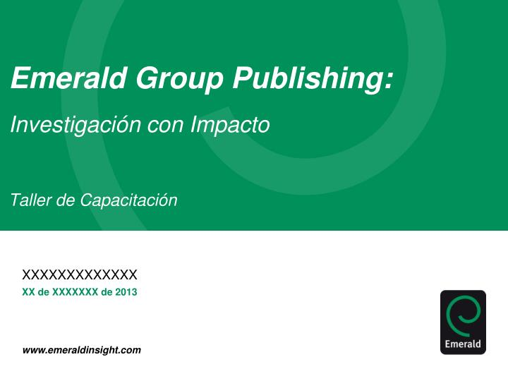 Emerald Group Publishing: