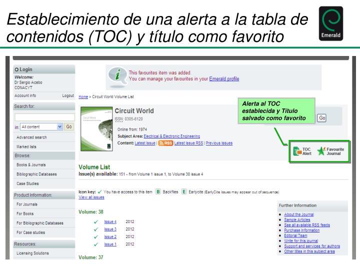 Establecimiento de una alerta a la tabla de contenidos (TOC) y título como favorito