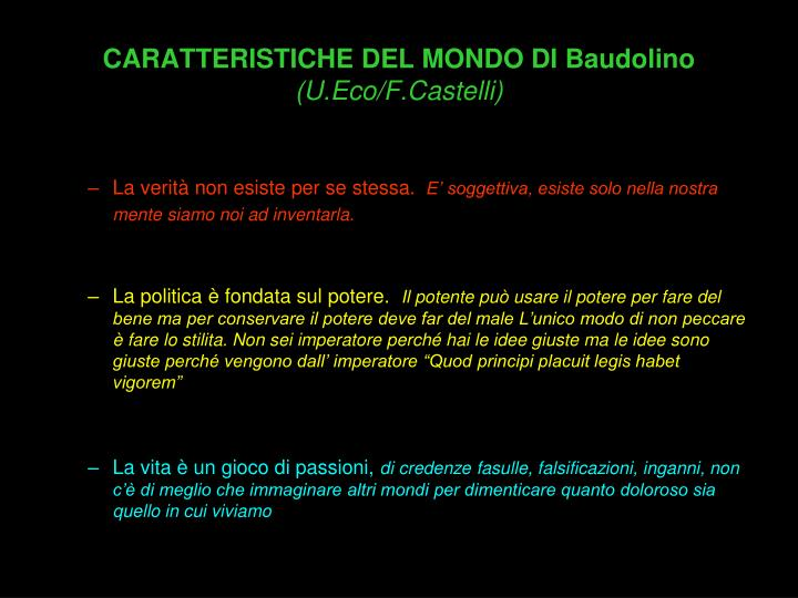 CARATTERISTICHE DEL MONDO DI Baudolino