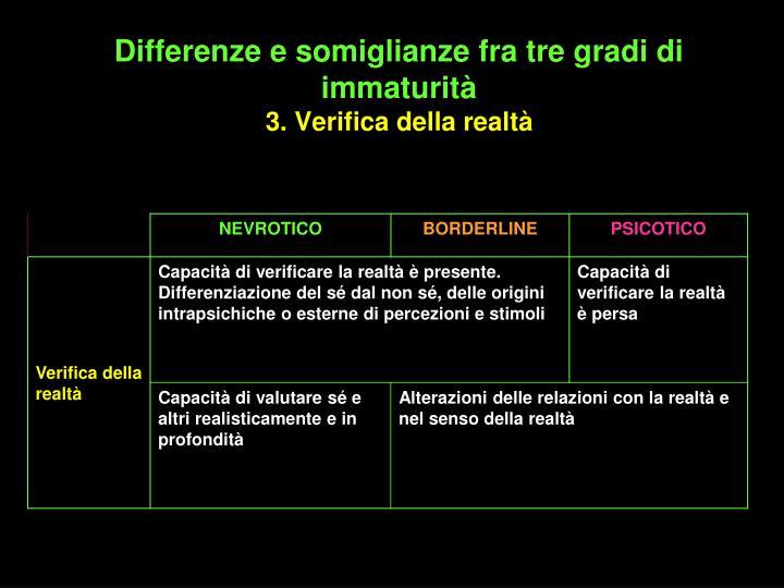 Differenze e somiglianze fra tre gradi di immaturità