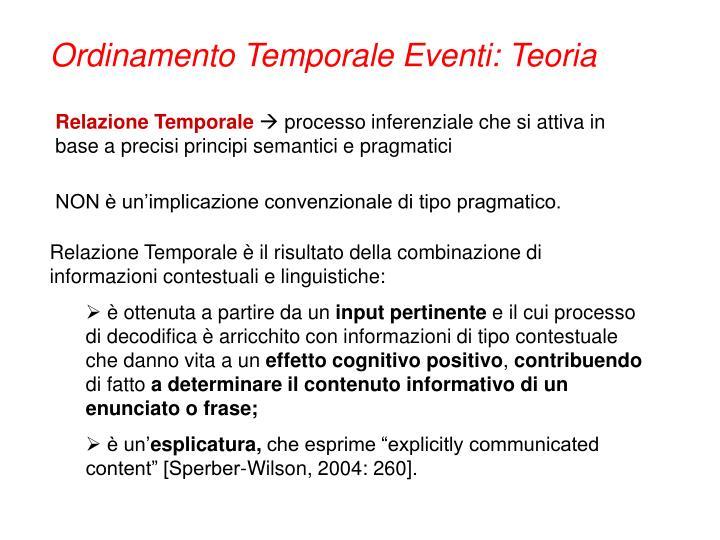 Ordinamento Temporale Eventi: Teoria
