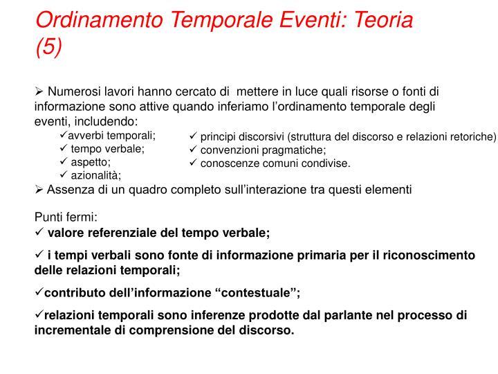 Ordinamento Temporale Eventi: Teoria (5)