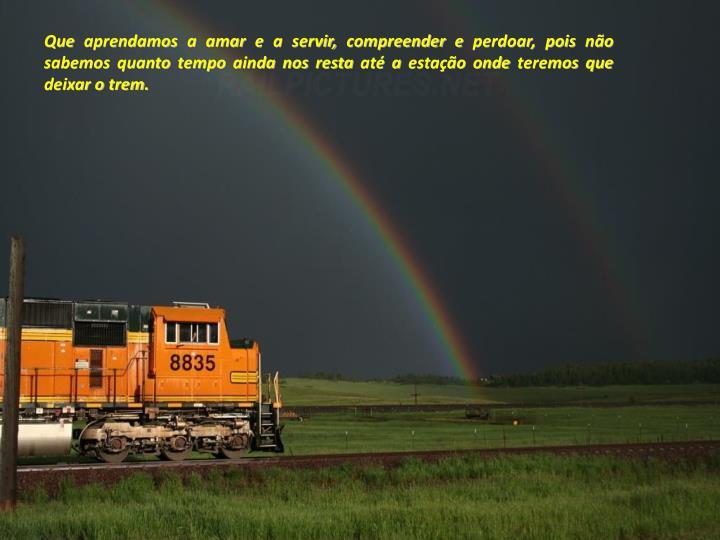 Que aprendamos a amar e a servir, compreender e perdoar, pois não sabemos quanto tempo ainda nos resta até a estação onde teremos que deixar o trem.