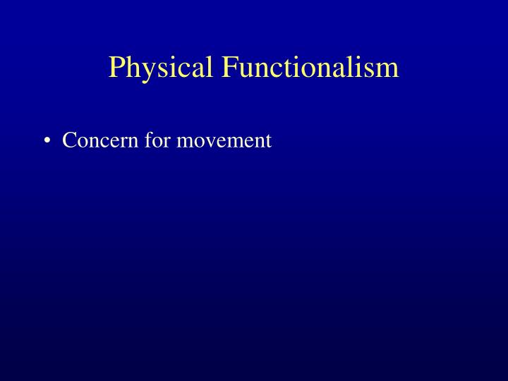 Physical Functionalism