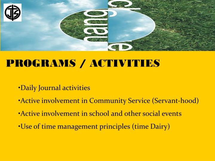 PROGRAMS / ACTIVITIES
