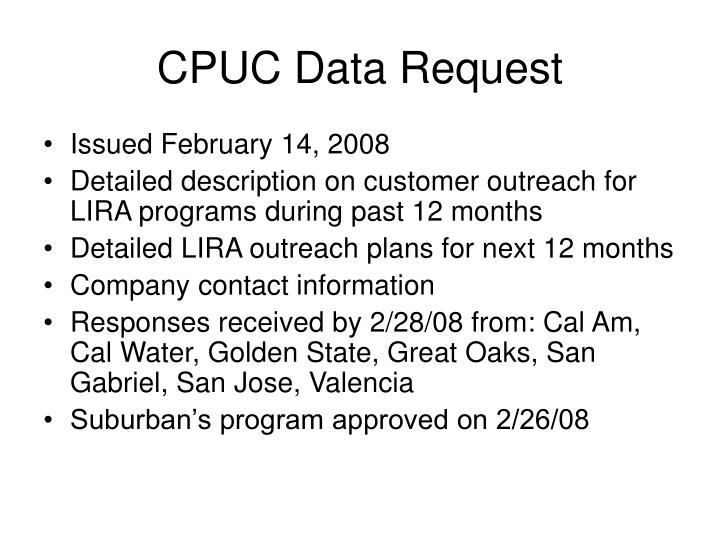 Cpuc data request