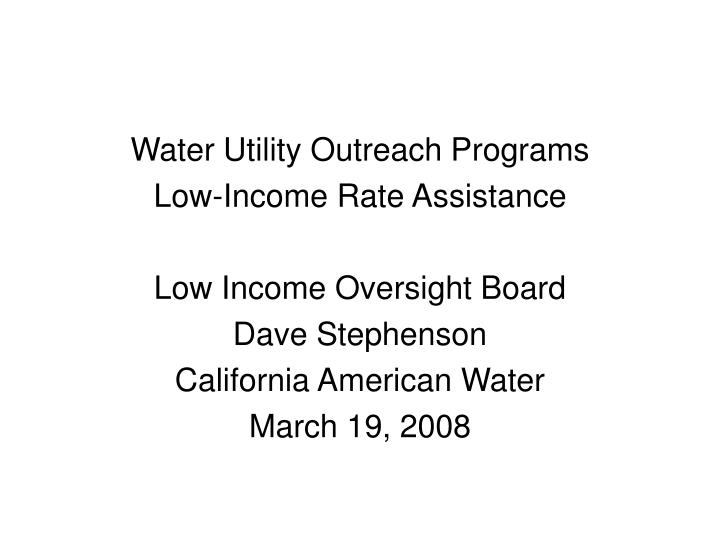 Water Utility Outreach Programs