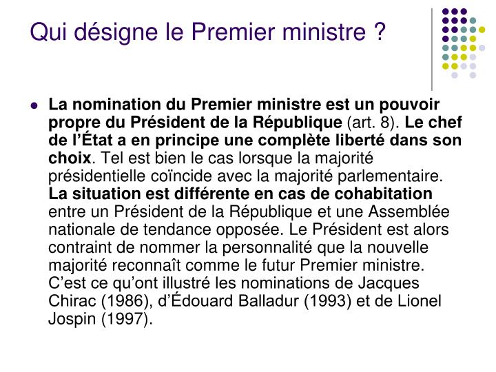 Qui désigne le Premier ministre?