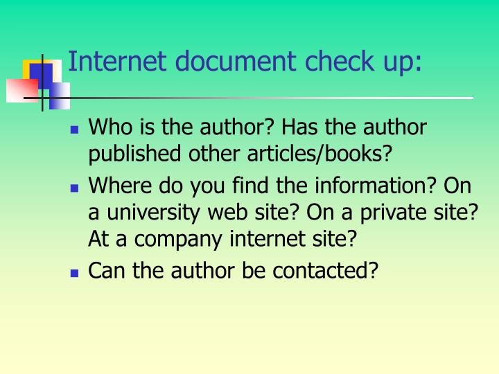 Internet document check up: