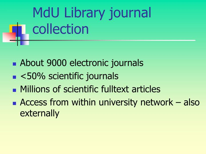 MdU Library journal collection