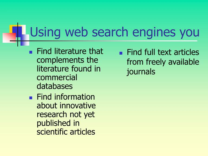 Find literature that complements the literature found in commercial databases