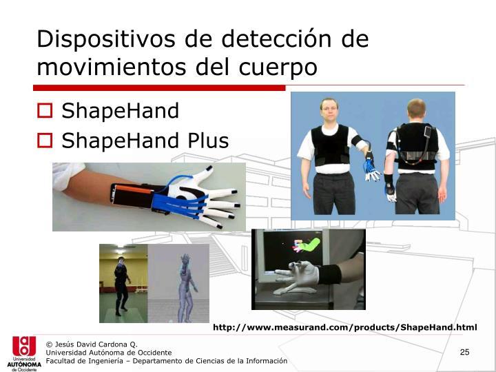 Dispositivos de detección de movimientos del cuerpo