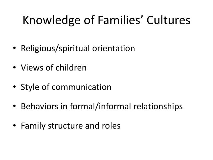 Knowledge of Families' Cultures