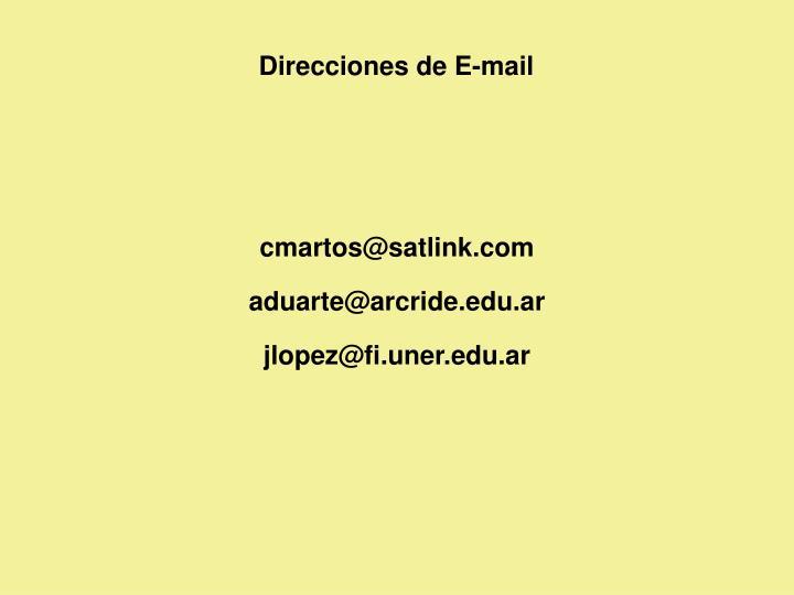 Direcciones de E-mail
