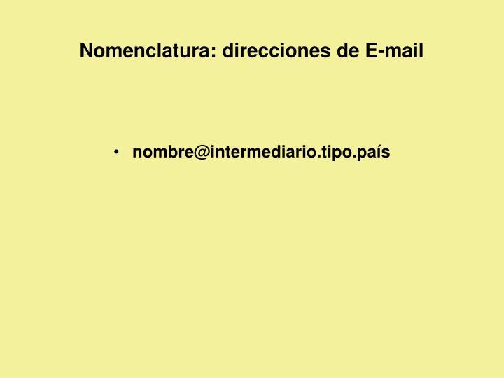 Nomenclatura: direcciones de E-mail