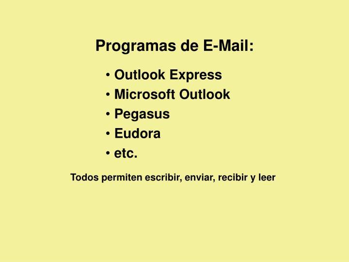 Programas de E-Mail: