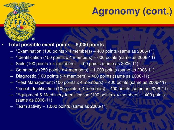 Agronomy (cont.)