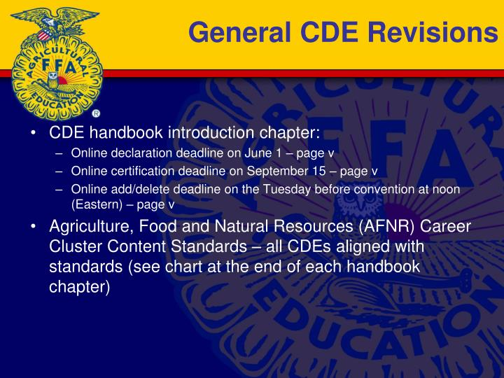 General CDE Revisions