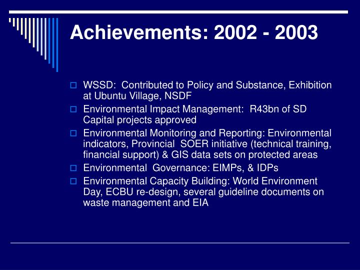Achievements 2002 2003
