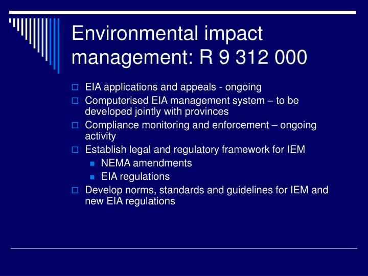Environmental impact management: R 9 312 000