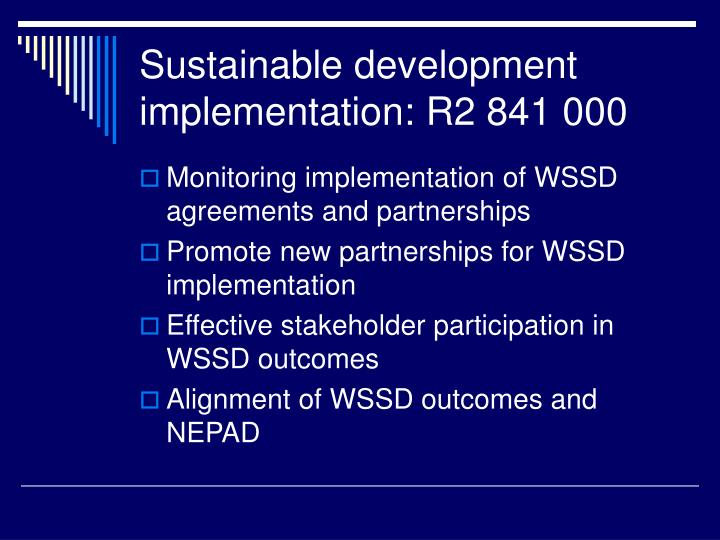Sustainable development implementation: R2 841 000