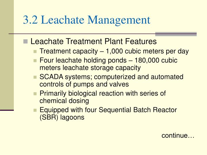 3.2 Leachate Management