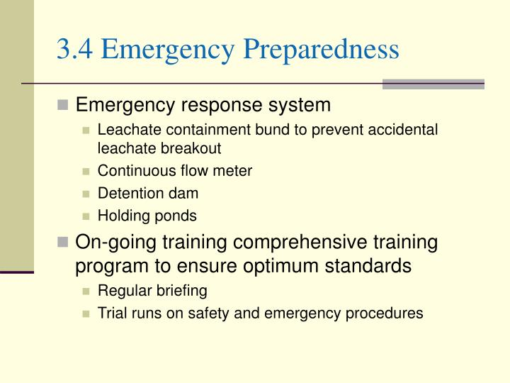 3.4 Emergency Preparedness