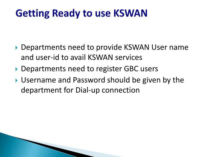 Getting Ready to use KSWAN