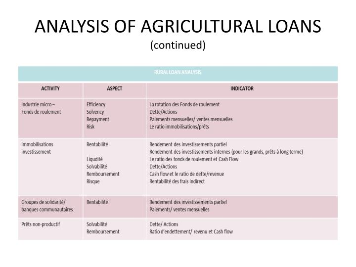 ANALYSIS OF AGRICULTURAL LOANS