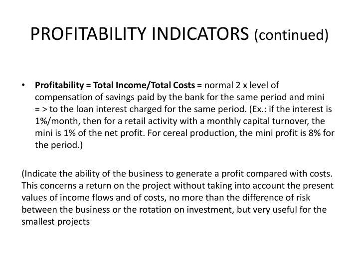 PROFITABILITY INDICATORS