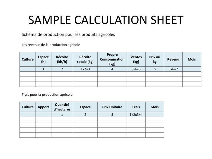 SAMPLE CALCULATION SHEET