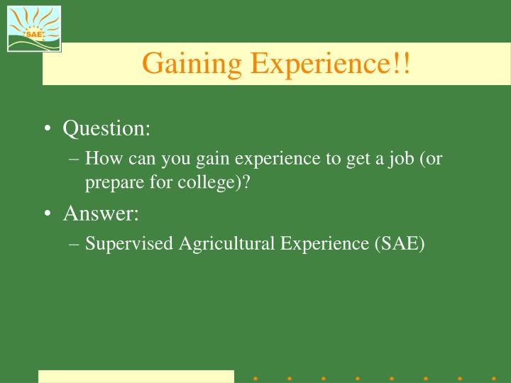 Gaining Experience!!
