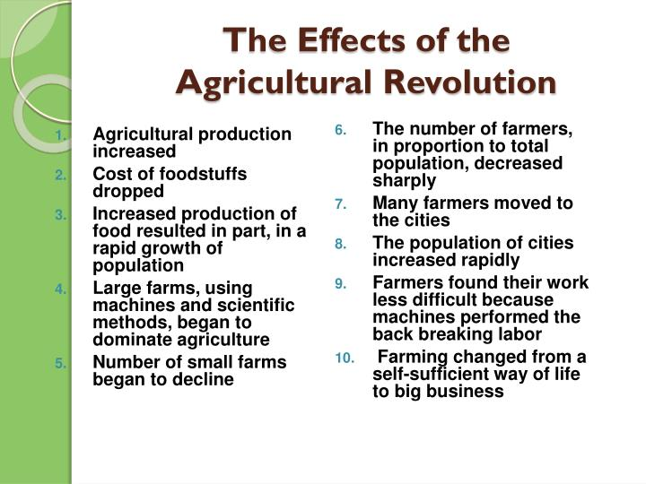 the impact of the agricultural revolution in britain Here are 15 best answers to 'how did the agricultural revolution impact the industrial revolution' - the most relevant comments and solutions.